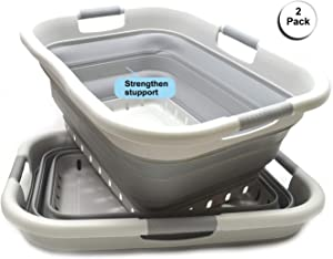 SAMMART Set of 2 Collapsible 3 Handled Plastic Laundry Basket - Foldable Pop Up Storage Container/Organizer - Portable Washing Tub - Space Saving Hamper/Basket (2, Grey/Grey)