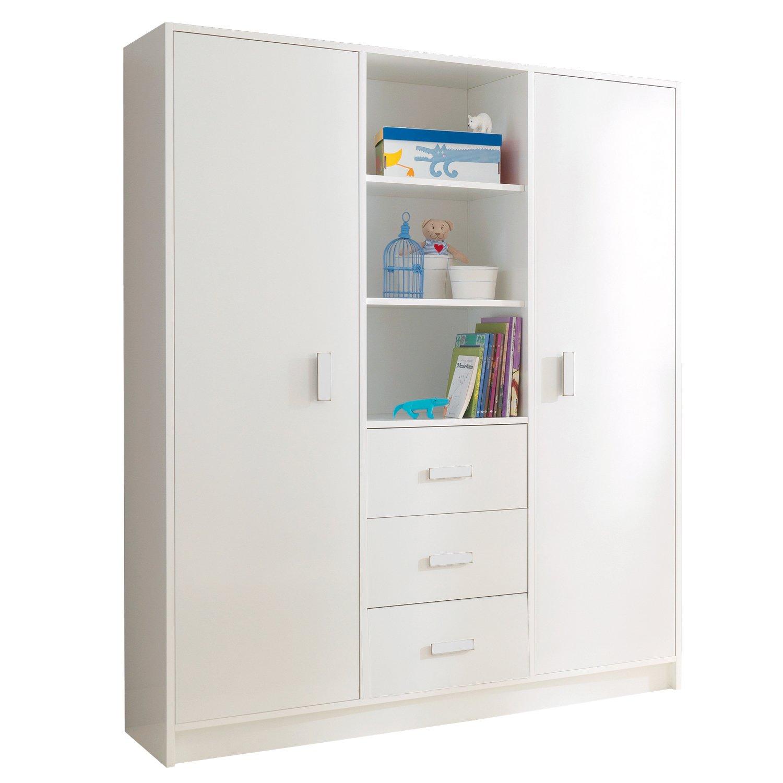 Pali Kinderzimmer Buchenholz Kleiderschrank 3-türig groß Zoom Weiß
