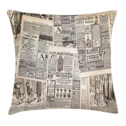 luckyly Retro Throw Pillow Cushion Cover, Vintage French Newspaper Background Nostalgic Antique Dated Past Artful Design, Decorative Square Accent Pillow Case, 18 X 18 Inches, Cream Tan Taupe ()