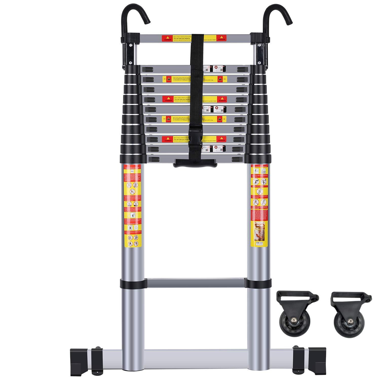 Handvoll 15.5ft Aluminum Telescoping Extension Ladder, Portable Heavy Duty Multi-Purpose Telescopic Ladder with Hooks …
