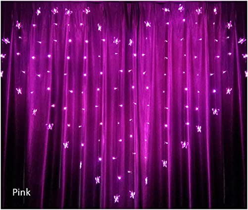 MD Lighting 128 LEDs Heart Shaped Butterfly Curtain Lights, 8 Modes Pink Icicle Light Outdoor Fairy String Lights for Bedroom Patio Wedding Party Decoration, Battery-Powered, 6.6 x 4.9 ft LxH