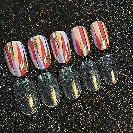 Full Wraps Z194 - Pintura de uñas postizas con purpurina dorada, diseño de pintura,