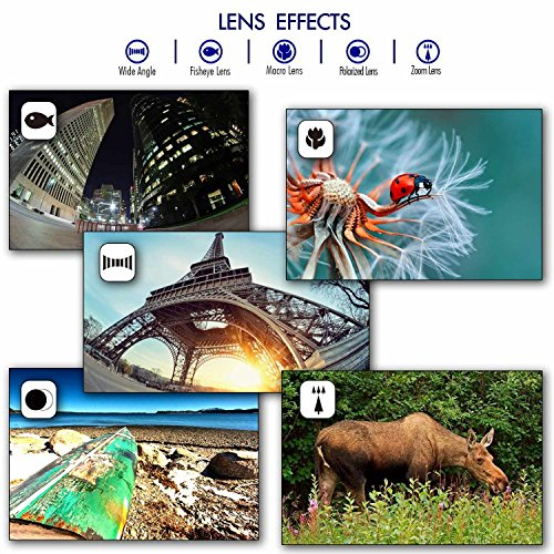 Cell Phone Camera Lens 5 in 1 Kit with Travel Bag and Firmly Soft Clip, See Your World Different