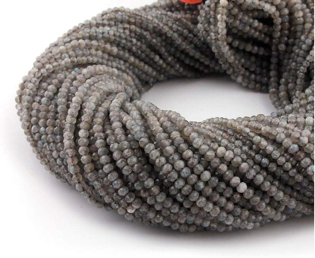 Mughal Gems & Jewellery - 1 Cuerda de labradorita Natural de 2 mm facetada con Perlas de Piedras Preciosas de 12