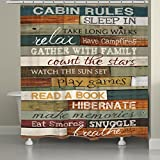 Laural Home Cabin Rules Shower Curtain, Brown