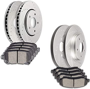 2008 2009 For Chrysler Town /& Country Front Brake Rotors and Ceramic Pads