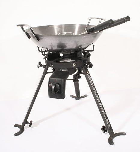 Hornillo de gas Taburete eléctrica 3 Pie con wok de camping ...