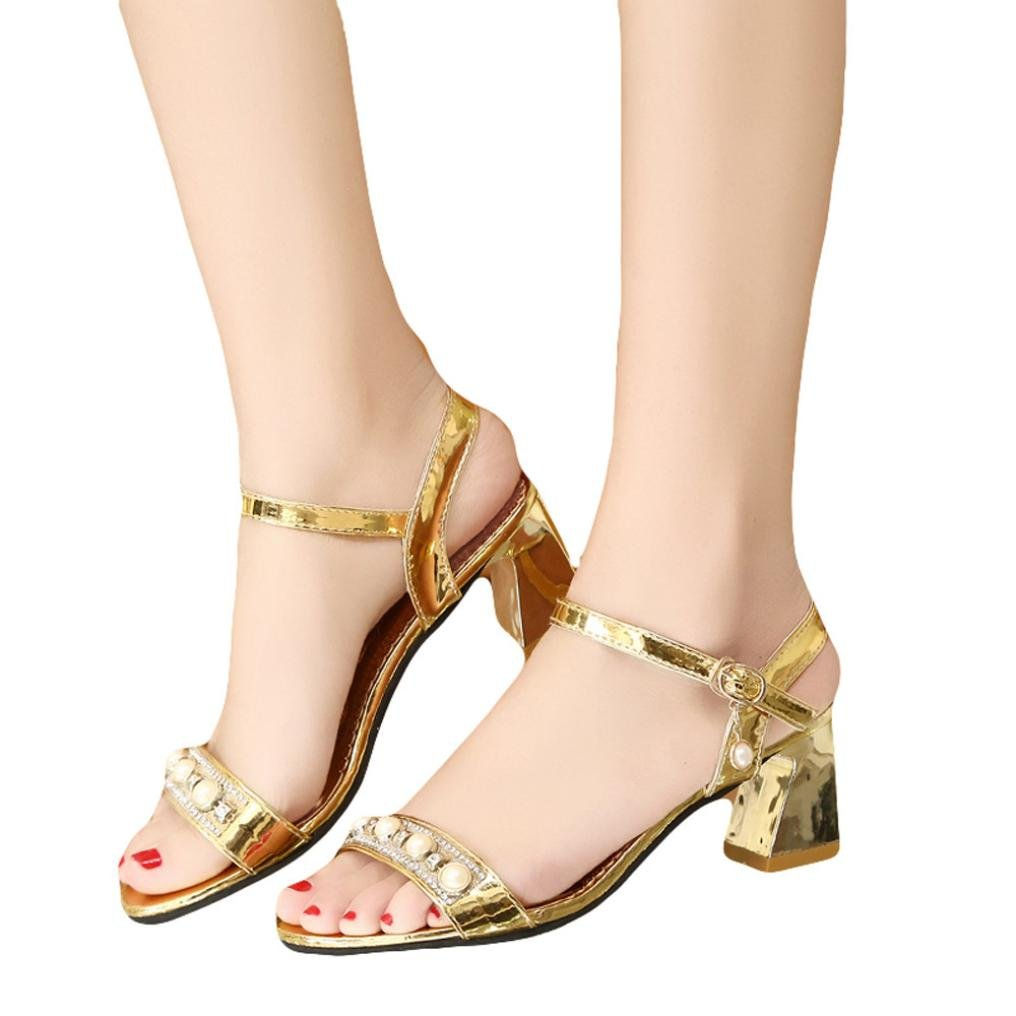 6ef309cf6628 Women Pearl Sandals Fashion Open Toe Sneakers Bohemia High Heel Shoes   Amazon.ca  Clothing   Accessories