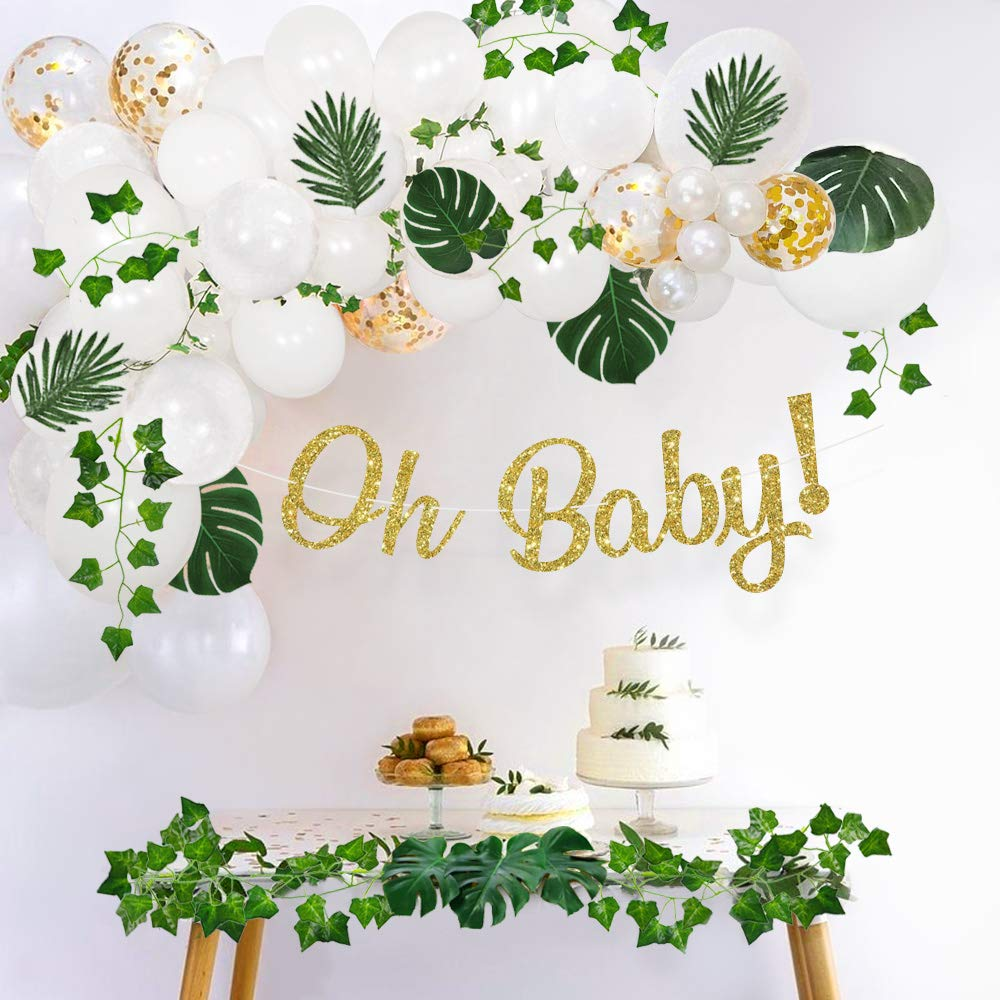 Sweet Baby Co. Greenery Boho Baby Shower Decorations Neutral with Balloon Garland, Oh Baby Banner, Ivy Leaf Garland Vines Decoration, Fake Greenery Decor for Jungle, Safari, Woodland Backdrop Theme