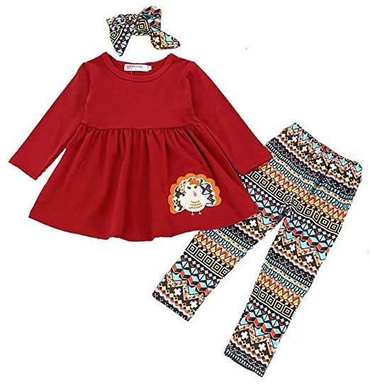 5bdf2d0cbc5f5 3Pcs Kids Baby Girls Thanksgiving Outfits Turkey Shirt Dress+Pants+Headband  Clothes Set