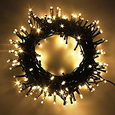 PMS LED String Lights on Dark Green Cable with 8 Light Effects, 338Ft 1000 LED Warm White Low Voltage Christmas Lights. Ideal for Indoor Decoration, Christmas, Party, Wedding, etc.
