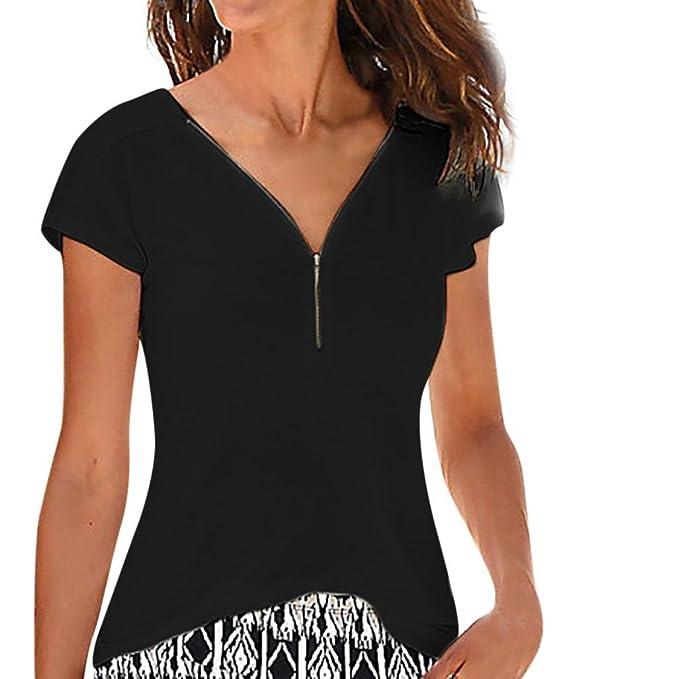 db539cb61d863 Hevoiok Damen Kurzarm-Shirt Oberteile Sexy V-Ausschnitt ...