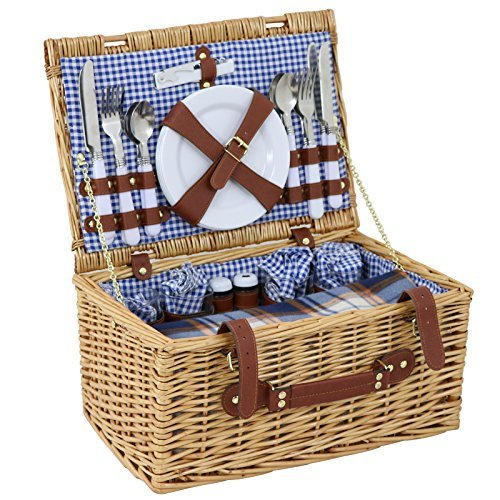 ZENY Wicker Picnic Basket 4 Person Wicker Hamper Set for sale  Delivered anywhere in Canada