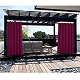 Macochico Thermal Insulated Privacy Protection Waterproof Outdoor Curtains Panels 100Wx 84L Burgundy Drapes for Patio Gazebo Cabana (1 Panel)
