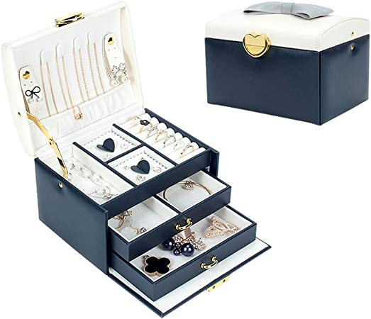 Ningz0l Caja Joyero, Cuero de PU con Cerradura para Anillos Aretes Pendientes Pulseras Y Collares Viaje Cajas para Joyas para Regalo 17.2 * 13.4 * 12 cm: Amazon.es: Hogar