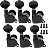 Musiclily 6-in-line Guitar Sealed Tuners Tuning Pegs Keys Machine Heads Set, Kidney Button Black(6 Pieces)