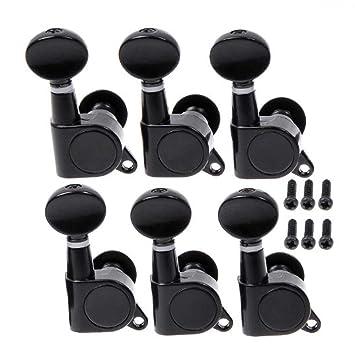 Musiclily 6 en línea Tipo Cerrado Set de Clavijas de Afinación Clavijero de Repuesto para Guitarra, Botón Kidney Negro: Amazon.es: Instrumentos musicales