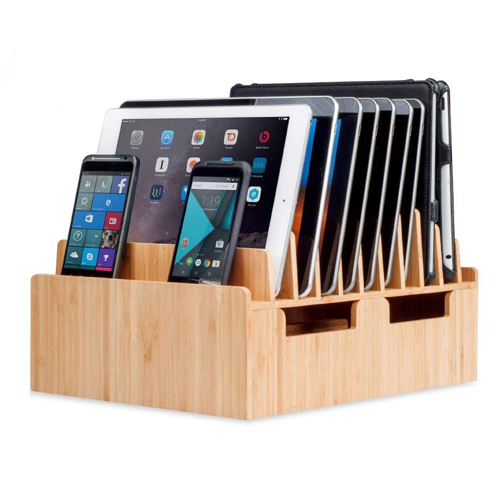 MobileVision Bamboo 10-Port Charging Station & Docking Organizer for Smartphones & Tablets, Family-Sized, for use in Corporate Offices & Classrooms