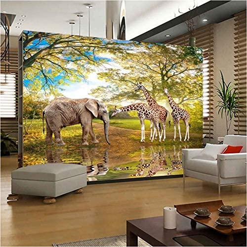 3D Decorations Wallpaper Murals Stickers Wall Jungle Elephant Giraffe Living Room Sofa Bedroom Background Home Decoration Art Kids Kitchen (W)140x(H)100cm 61VQoeZN4FL