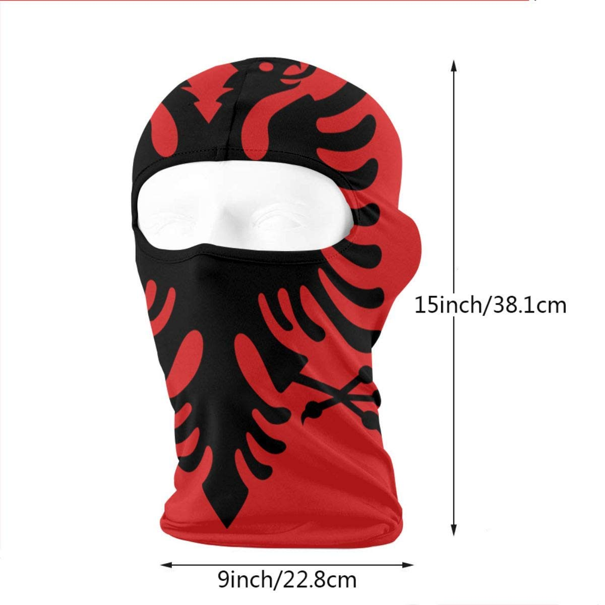 Sdltkhy Neck Scarf Sunscreen Hats Ski Mask Flag of Albania Sun UV Protection Dust Protection Wind-Resistant Maschera Viso for Running Cycling Fishing