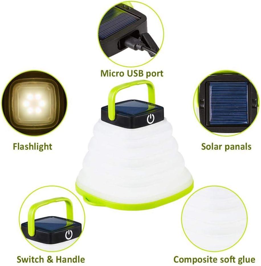 tragbares Nachtlicht solarbetriebene Laterne USB-Anschluss shenlanyu Camping-Licht wasserdicht faltbar LED h/ängende Taschenlampe Zeltlampe