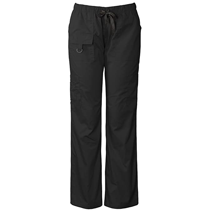 c51a3797a55 Medgear Womens Scrubs Pants, Utility Style with 7 Pockets and Loop 2043  Black