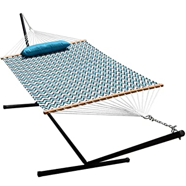 Lazy Daze Hammocks 15 Feet Heavy Duty Steel Hammock Stand, Two Person Quilted Fabric Hammock and Pillow Combo (Blue&White Wave)