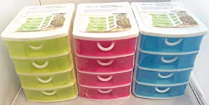 Set of 3 All For You Durable Plastic Mini Desktop Drawer Containers Sundries Case Small Objects Storage Box (4 Layers)