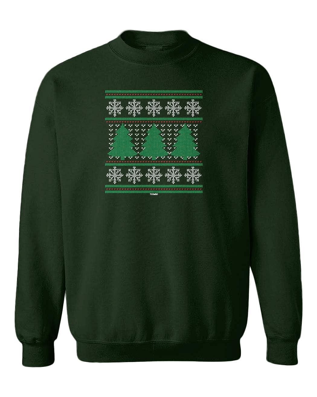Tcombo Christmas Tree Pattern Xmas Ugly Youth Fleece Crewneck Sweater