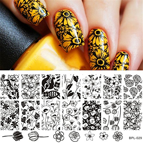 Born Pretty Nail Art Stamp Template Rose Image Plate Tulip Pattern BP-L029 - Roses Template