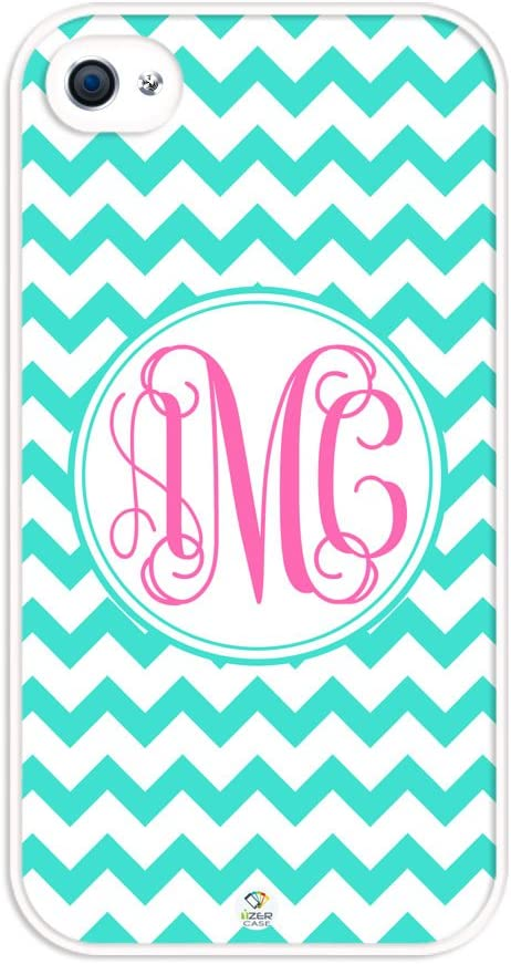 iZERCASE Monogram Personalized Turquoise Chevron with Pink Initials Pattern Rubber iPhone 4 case - Fits iPhone 4 & iPhone 4s T-Mobile, Verizon, AT&T, Sprint and International (White)