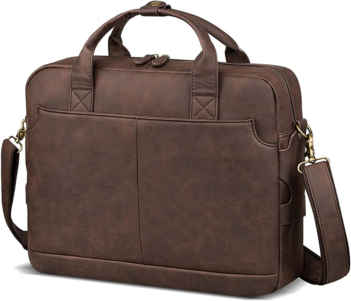 Leather Briefcases for Men Laptop Briefcase 15.6 Inch Travel Business Messenger Bag for Men Computer Bag Retro Waterproof Brown,Perfect Fathers Day Gifts for Dad/Gifts For Husband