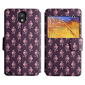 AADes Scratchproof PU Leather Flip Stand Case Samsung Galaxy Note 3 III ( Skull And Rose )