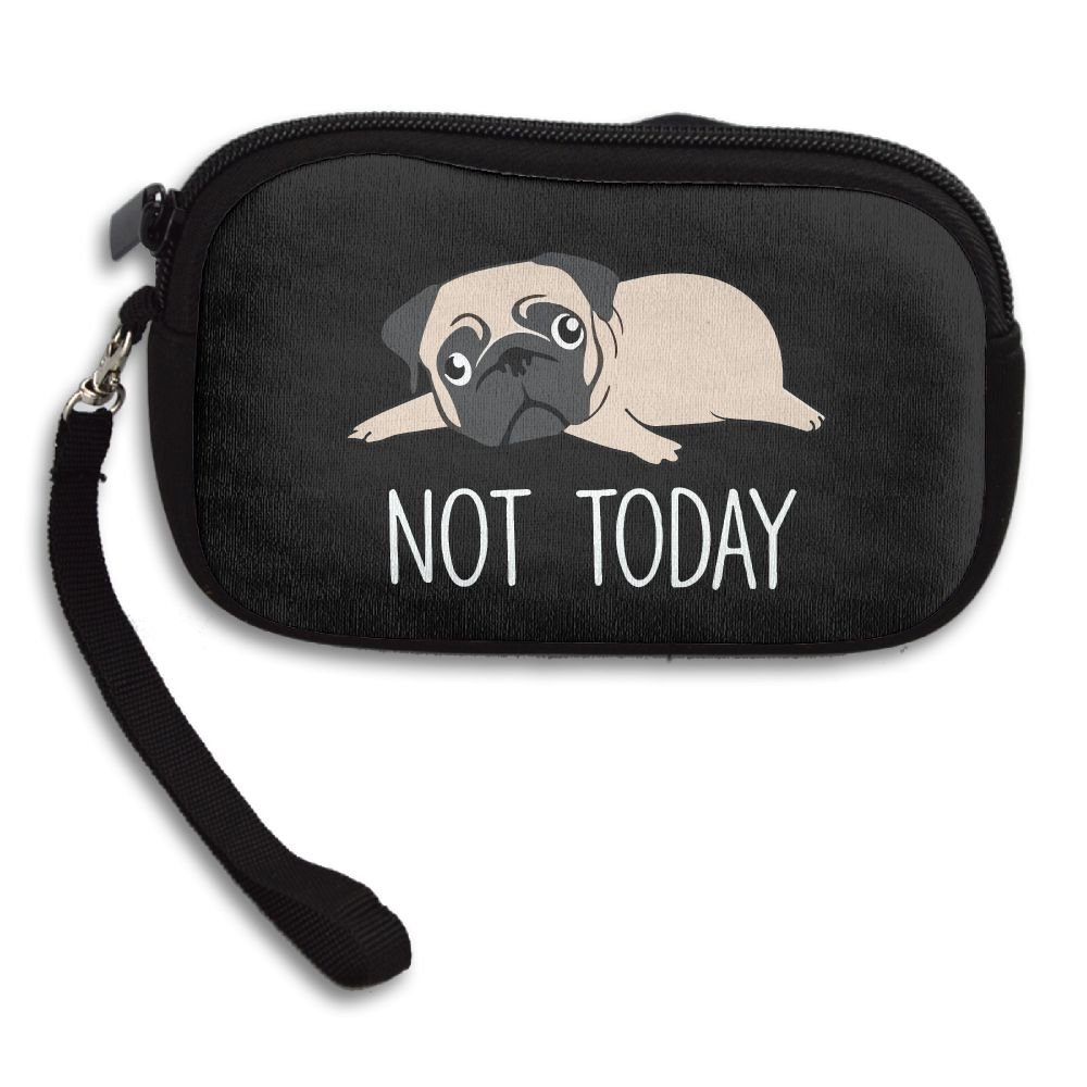 Not Today Pug Funny Cute Lazy Dog Zipper Change Purse Coin Wallet Card Holder With Key Ring Portable Purse Pouch Bag