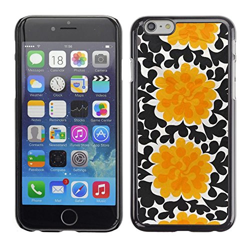 Caoutchouc Hard Case Shell Housse de protection Accessoire BY RAYDREAMMM - Apple iPhone 6 - Flowers Black Wallpaper Art