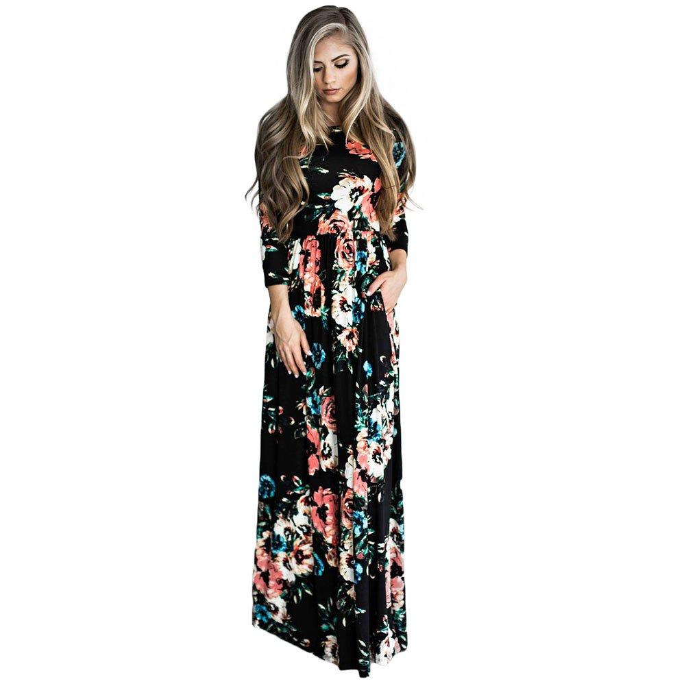TALLA XL=ES 46-48. FeelinGirl Mujer Vestido Floral Navidad Falda Maxi Papá Noel Nieve Ciervo Mangas Largas Negro XL=ES 46-48