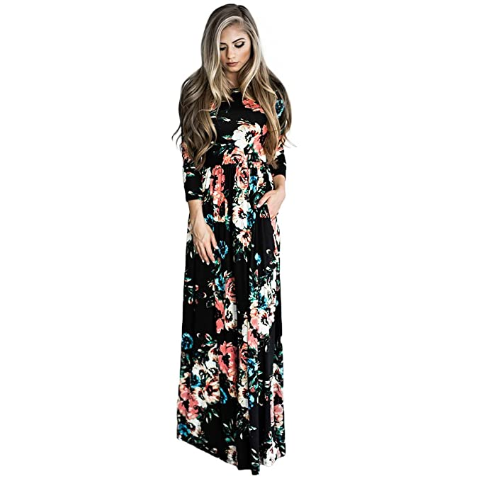 d1fb125df DANALA Women's Floral Print Long Sleeve Empire Waist Full Length Pockets Maxi  Dress Black Size XXL