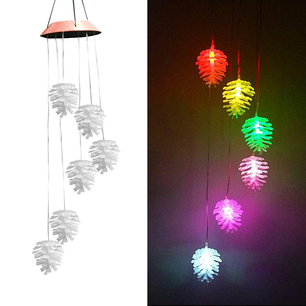 LED Solar Wind Chime Lamp Wind Bells Lights Christmas Pine Cone Pattern Color-Changing Waterproof Six Bells Wind Chimes for Indoor Outdoor Home Party Night Garden Christmas Decoration US-PopTrading