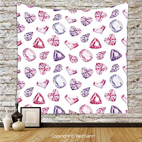 FashSam Tapestry Wall Hanging Amethyst Heart and Triangle Shaped Diamonds Hanging Digital Prints Art Decorative Tapestries Dorm Living Room Bedroom(W51xL59)