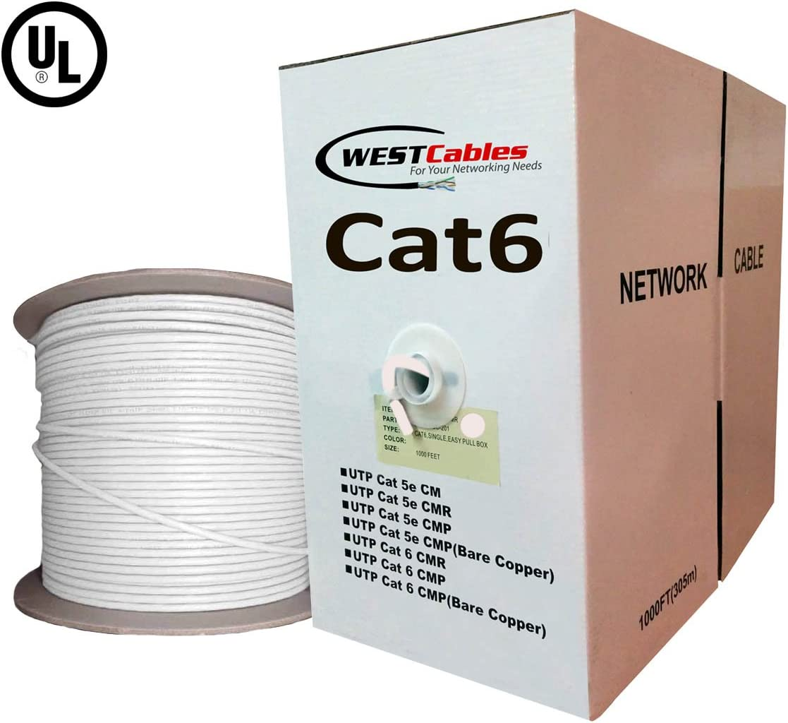White 1000ft Cat6 Plenum Bulk CMP Solid Copper UTP UL Networking Cable