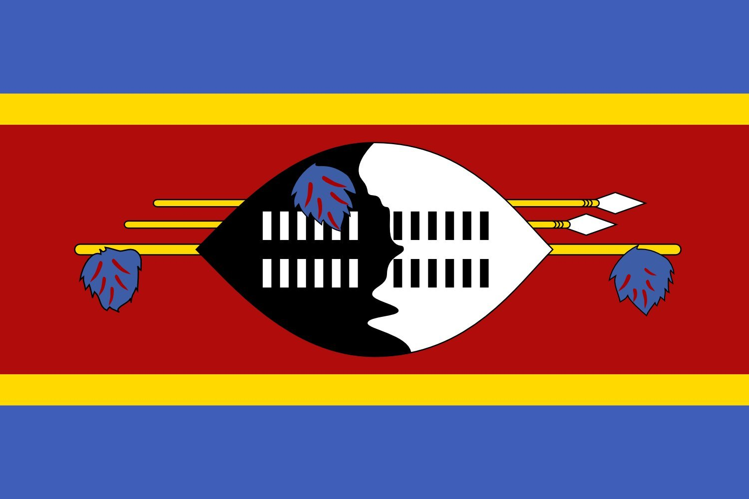 magFlags XXXL Flag Swaziland | landscape flag | 6m² | 64sqft | 200x300cm | 6x10ft -- 100% Made in Germany -- long lasting outdoor flag
