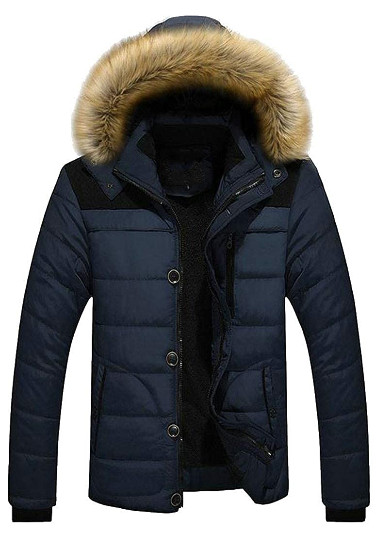 Cromoncent Mens Winter Thicken Faux Fur Hooded Quilted Puffer Parka Coat Jacket