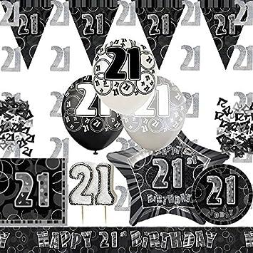 Black Silver Glitz 21st Birthday Party Pack