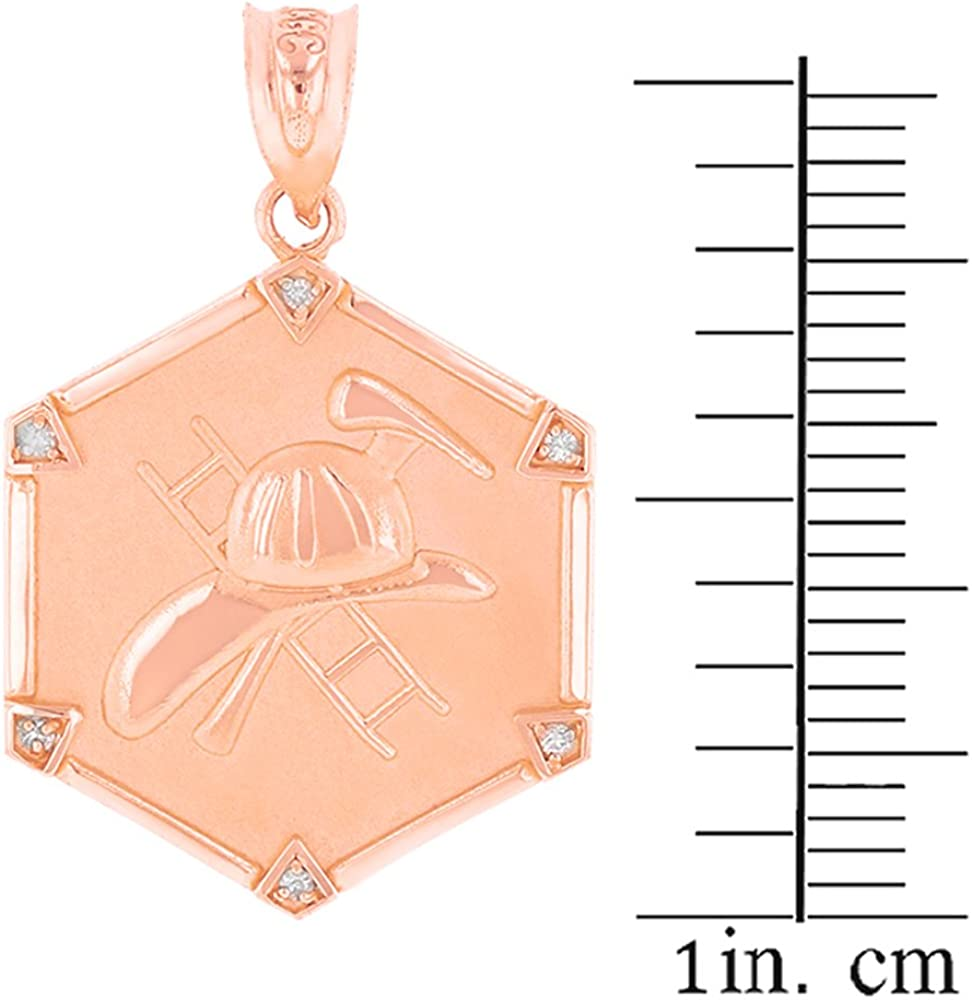 Helmet and Ladder Necklace 10k Rose Gold Diamond-Accented Firefighter Axe