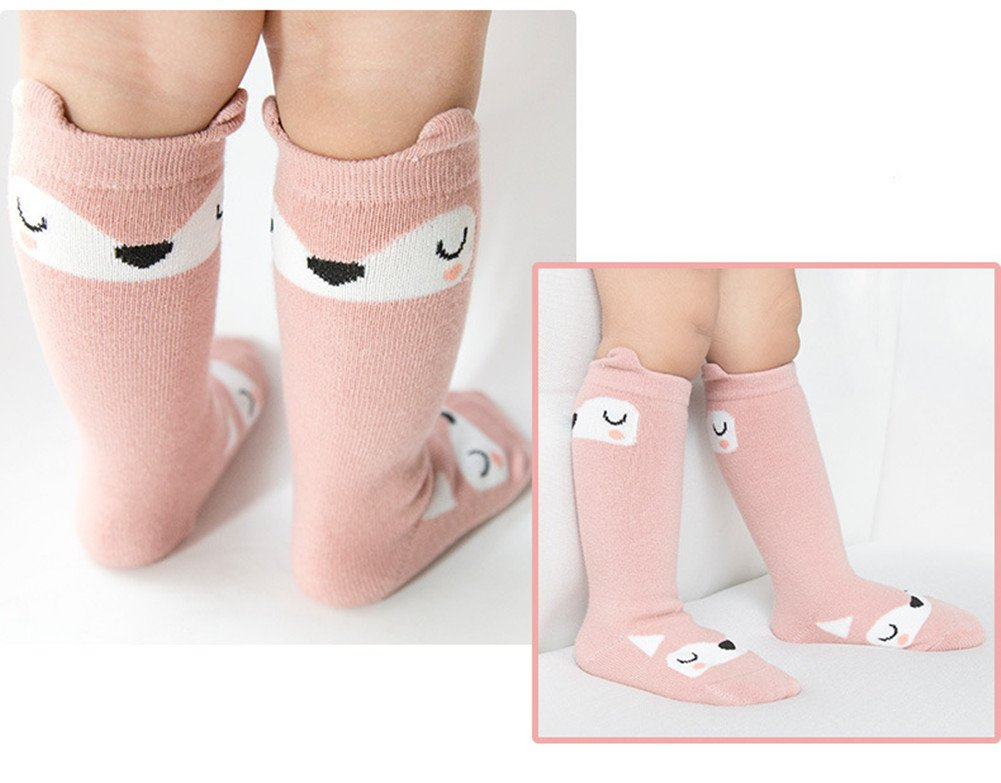Unisex Baby Socks QandSweet 6 Pairs Non-Slip Knee-High Stockings for Toddler Boy Girls 2-4T by QandSweet (Image #3)