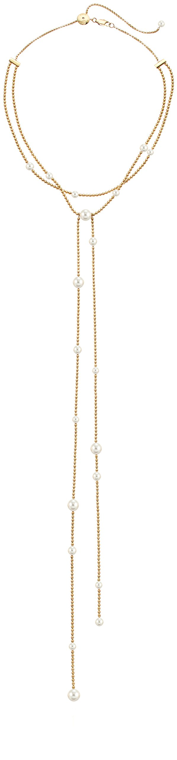 Michael Kors Modern Classic Gold-Tone, White Pearl and Crystal Charm Lariat Slider Choker Necklace, 22''