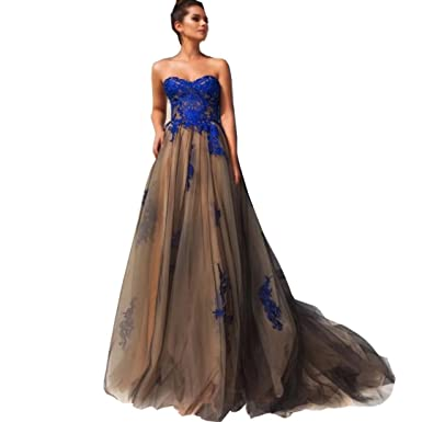 DingDingMail Royal Blue Backless Prom Dresses 2017 Long Lace Applique Sleeveless Evening Dress Long Formal Gowns