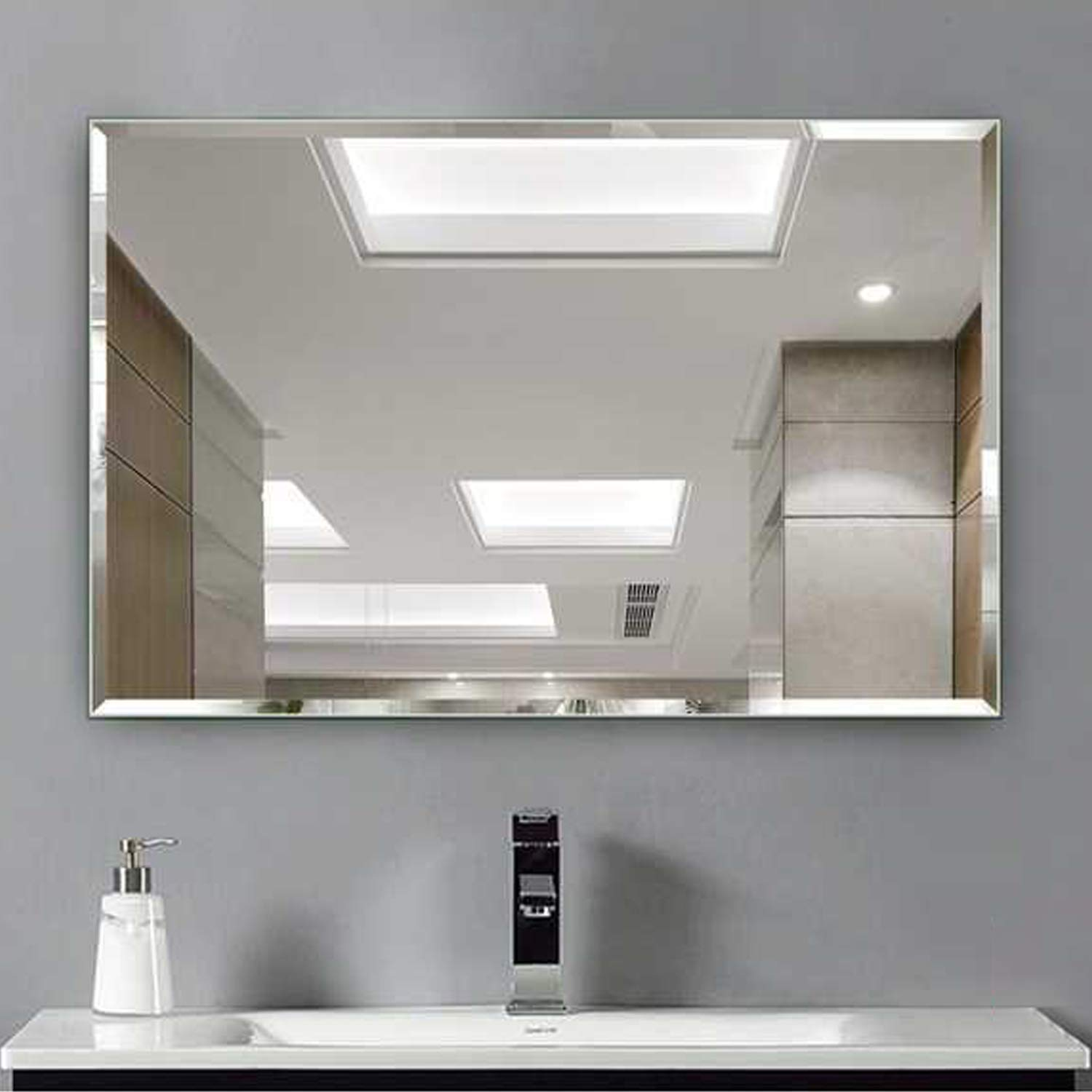 Amazon.com: Hans&Alice Beveled Bathroom Mirrors Wall Mounted, Modern ...