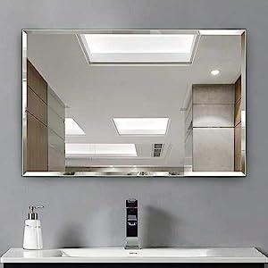 Hans&Alice Beveled Bathroom Mirrors Wall Mounted, Modern Frameless Mirror for Bathroom, Bedroom, Living Room Hanging Horizontal or Vertical Commercial Grade 90+ CRI (38'' x 26'')