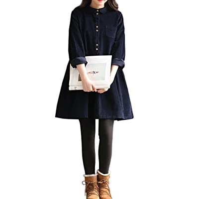 Gihuo Women's Vintage Long Sleeve Peter Pan Collar Corduroy Dress at Women's Clothing store